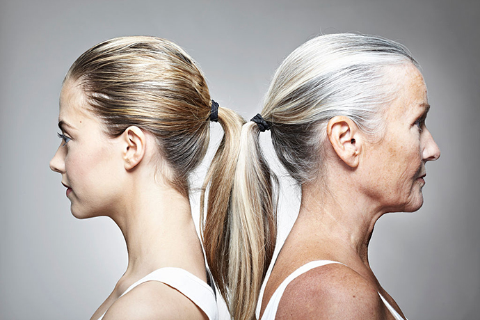 Younger and older womans profiles